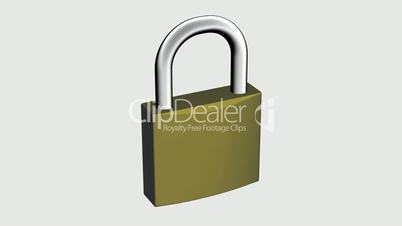 Rotation of 3D lock.security,padlock,safety,metal,safe,protection,steel,key,