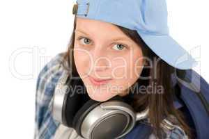 Teenager cute girl enjoy music with headphones