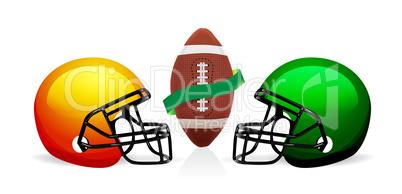 american football ball and helmet vector