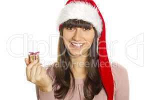 Christmas woman with gift smiling