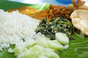 Indian cuisine banana leaf
