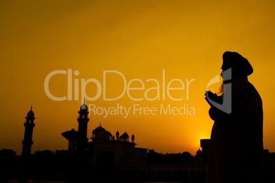 Silhouette of Sikh prayer