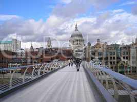 Saint Paul church and Millennium Bridge London