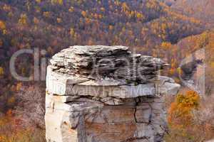 Craggy rocks in autumn