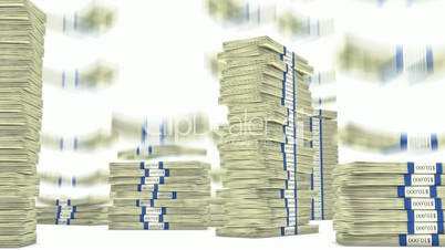100 dollar bundles stacks falling down. Wealth and money