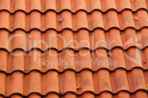 background of tiled red roof