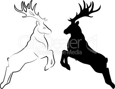 Silhouette und Linienzeichnung Hirsch