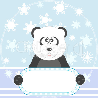 Panda with empty blank and snow blue background vector