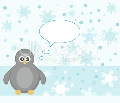 penguin winter snowflake background greeting card vector