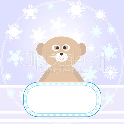 Baby Bear greetings card with snowflakes Vector