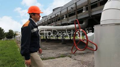 Worker Comes And Open Valve