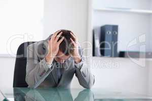 Businessman after failed negotiation