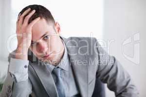 Close up of businessman who got bad news