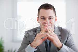 Close up of businessman after getting good news