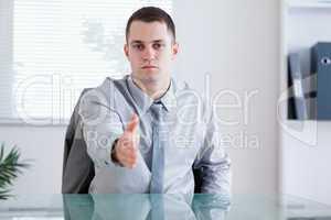 Businessman greeting his negotiation parnter