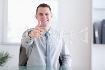 Businessman gives approval