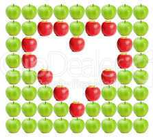 Green wet apples with red apples shaping a heart in between
