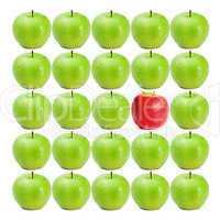 Green wet apples surrounding red apple