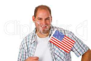 Junger Mann mit Nationalflagge