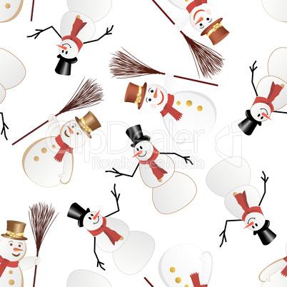 snowman seamless pattern