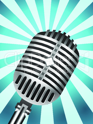 Classic Microphone on lined background