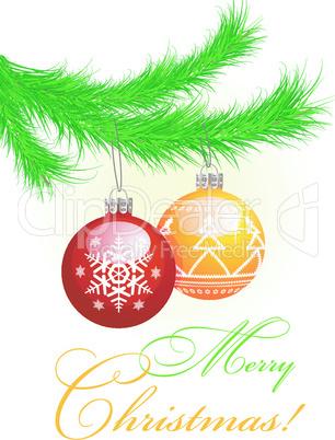 Christmas tree and balls.