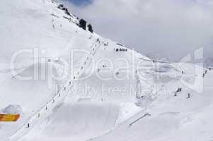 Snowboard park at ski resort
