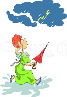 The woman in the rain