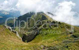 Carpathian mountains in Ukraine: on the ridge