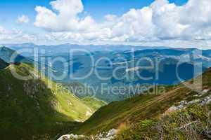 Carpathians landscape: on a top of mountain ridge
