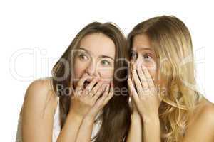 Two young women terrified and screaming