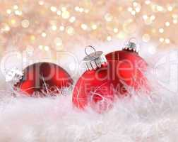Red christmas balls with abstract background