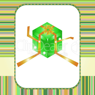 green gift box with yellow bow greeting vector card