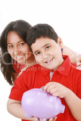 Portrait of a caring mother teaching her son to save money in pi