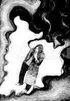 smoker in clouds of smoke