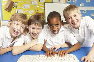 Schoolchildren in IT Class Using Computers