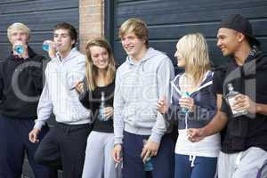 Group Of Teenagers Hanging Out Together Outside Drinking