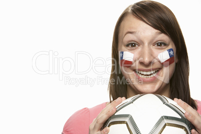 Young Female Football Fan With Chilean Flag Painted On Face