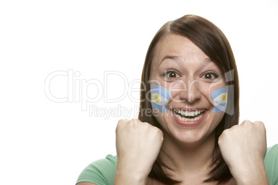 Young Female Sports Fan With Argentinian Flag Painted On Face