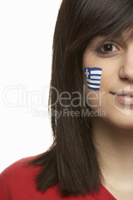 Young Female Sports Fan With Greek Flag Painted On Face