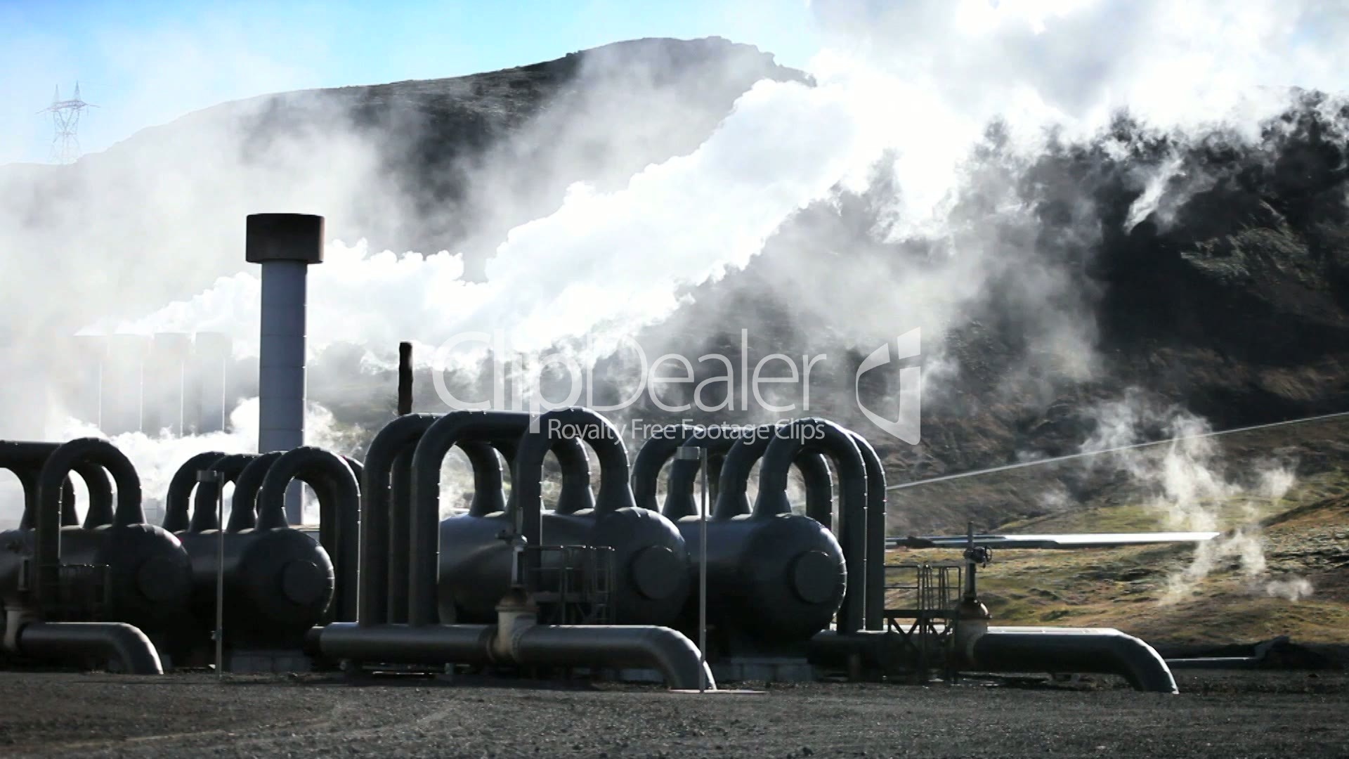 Steam From Geothermal Power Plant Royalty free video and stock