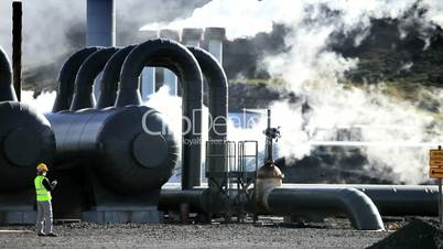 Female Engineer Working at Geothermal Power Station