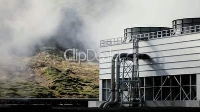 Geothermal Power Station in Barren Landscape
