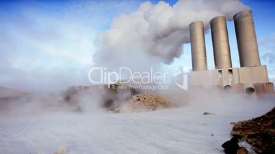 Volcanic Steam Obscuring Geothermal Power Station
