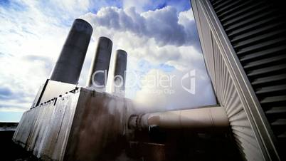 Buildings & Chimneys at Geothermal Power Station