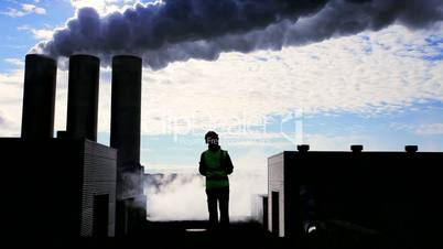 Silhouette of Female Engineer at Geothermal Power Station