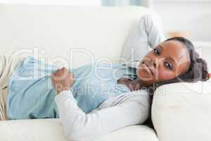 Woman taking a rest on the couch