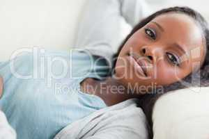 Close up of woman taking a rest on the sofa