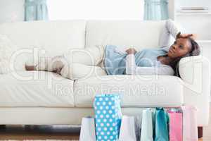 Woman taking a rest after shopping