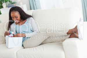 Woman taking a small break after shopping